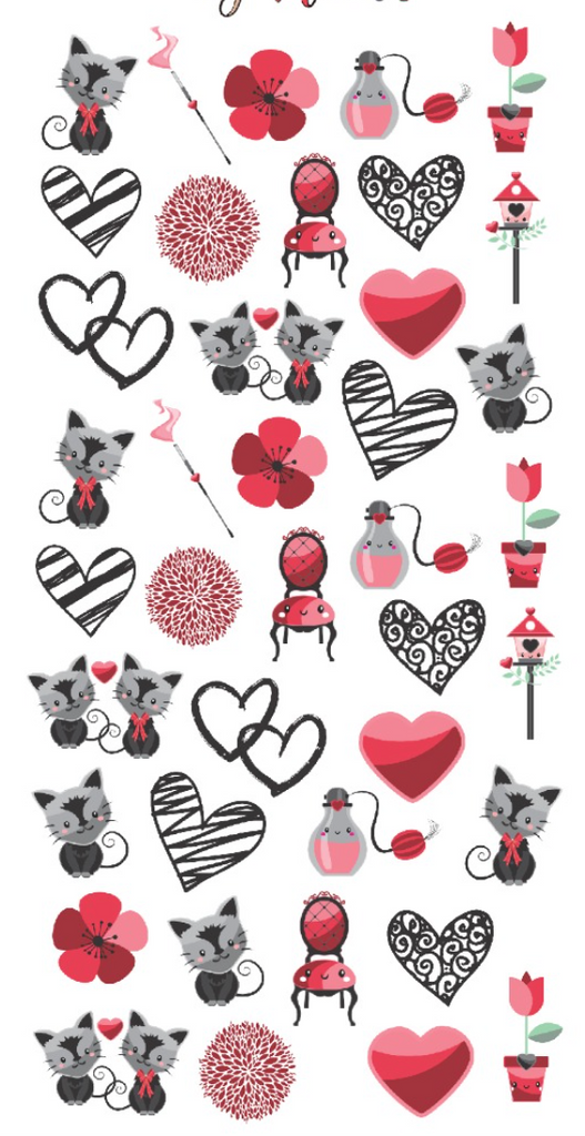 Valentines Cats Custom Nail Decals