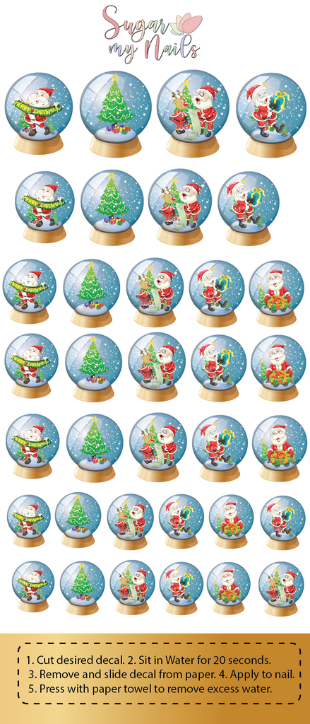 Christmas Snow Globe Custom Nail Decals