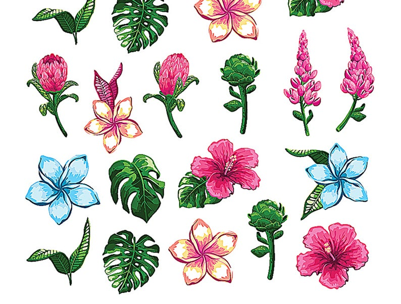 Tropical Flowers Nail Decals