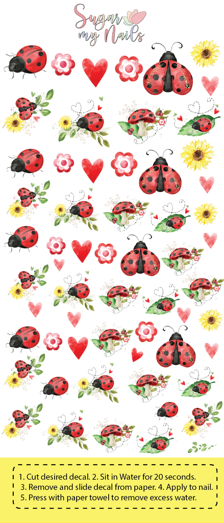 Lady Bug Custom Nail Decals