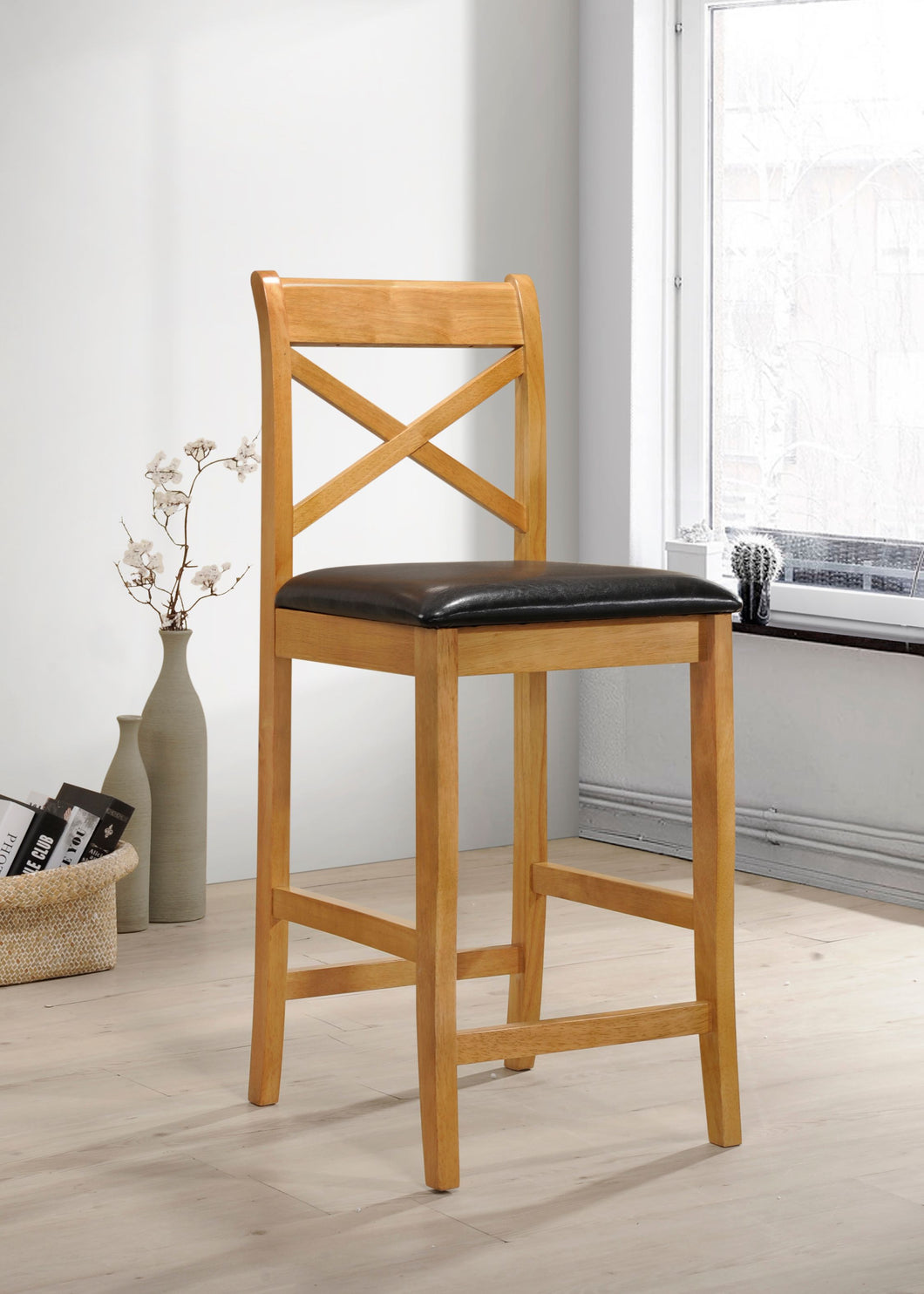 Clermont wooden bar stool in Columbia oak with pu seat