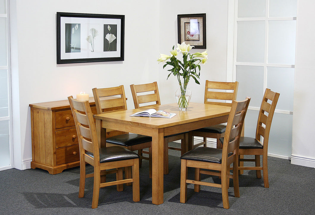 Columbia 6' set, 100 x 180cm  table with 6 Light Oak Columbia chairs with PU seats