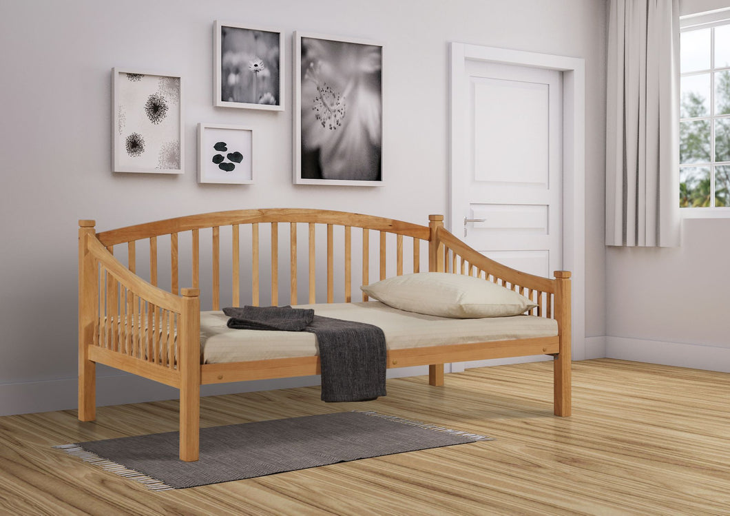 Carla day bed 3', wooden ends with metal base, beech