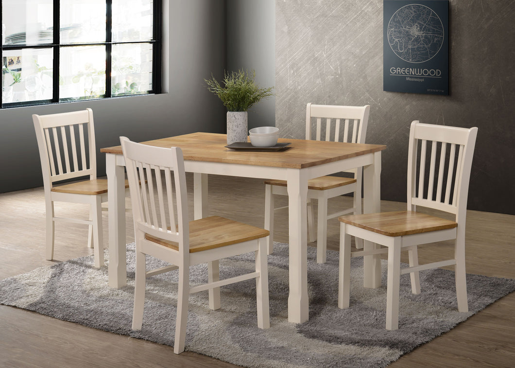 Bolton 4' set, 75x120cm table with 4 chairs, available in Cream & Oak