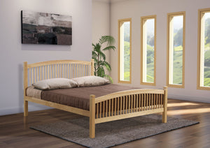 Carla 5' double bed, wooden ends with metal base, Beech