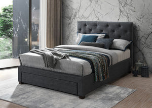 Melania 4'6 Grey Fabric bed