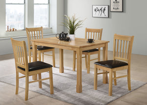 Bolton 4' set, 75x120cm table with 4 chairs, available in Natural Oak