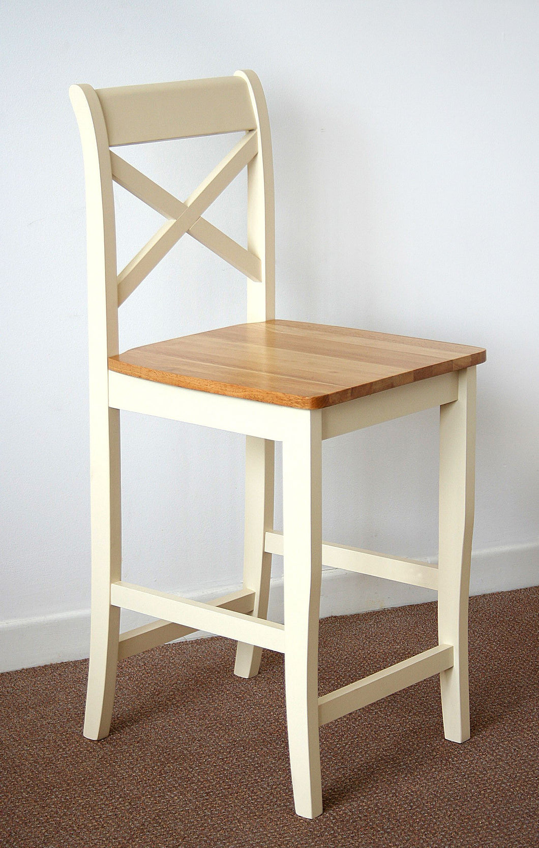 Clermont wooden bar stool in Cream/Oak with pu seat