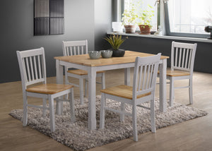 Bolton 4' set, 75x120cm table with 4 chairs, available in Grey & Oak