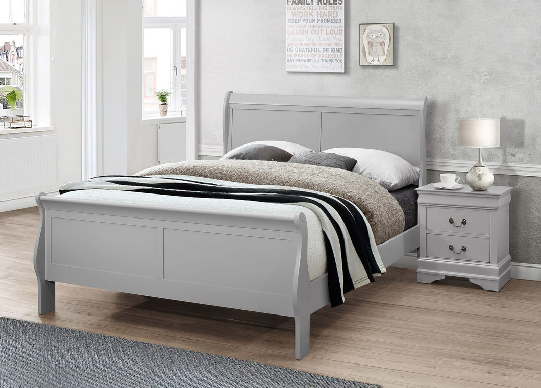 Louise  4'6 Grey sleigh Bed