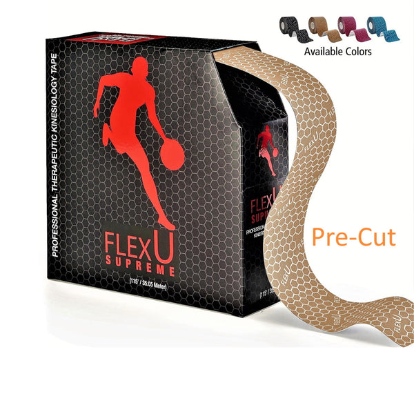 FlexU Kinesiology Tape Bulk Pack 140 Pre-Cut I Shape Strips, Beige