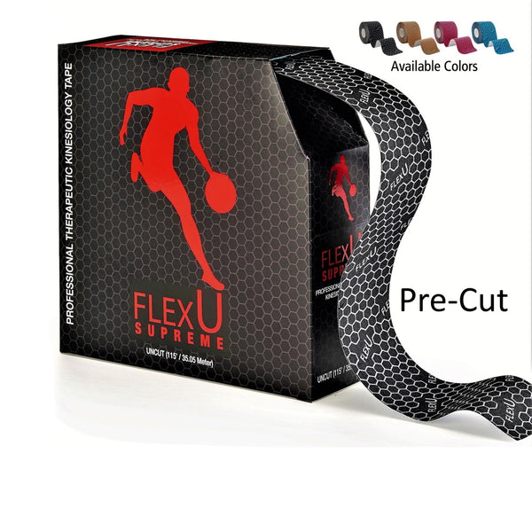 FlexU Kinesiology Tape Bulk Pack 140 Pre-Cut I Shape Strips, Black