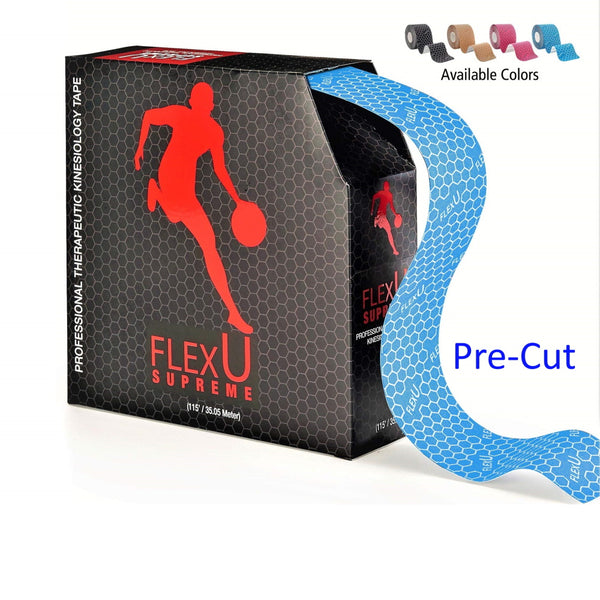 FlexU Kinesiology Tape Bulk Pack 140 Pre-Cut I Shape Strips, Blue