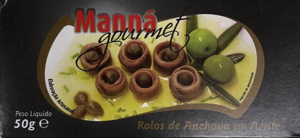 Manná Gourmet Rolled Anchovies in Olive Oil with Capers