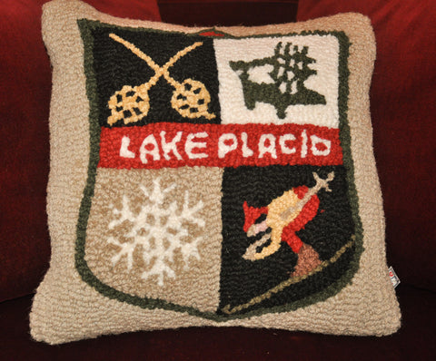 "Ski Patch 18"" Hooked Pillow"