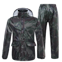 Romano nx 100% Waterproof Camouflage Rain Coat Men Heavy Duty Double Layer Hooded with Jacket and Pant in a Storage Bag