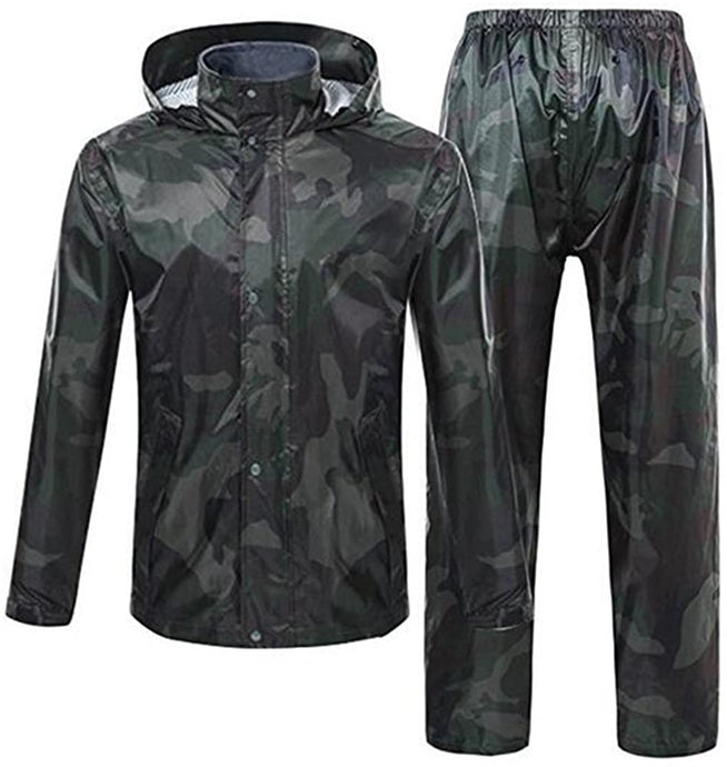 Romano nx 100% Waterproof Camouflage Rain Coat Men Heavy Duty Double Layer Hooded with Jacket and Pant in a Storage Bag romanonx.com