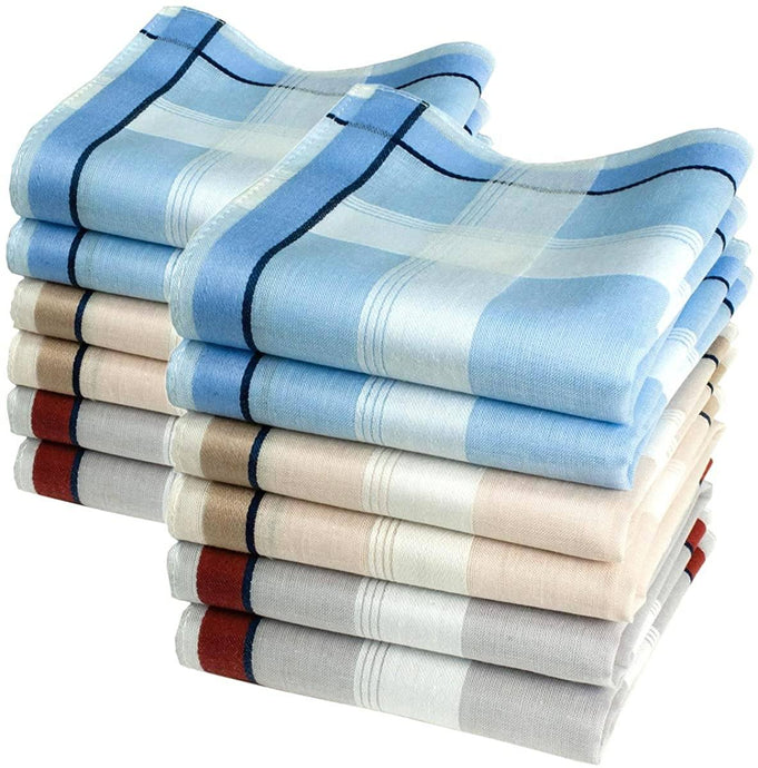 Romano nx 12 Pack Men's Fine Handkerchiefs 100% Cotton Color with Color Stripe romanonx.com