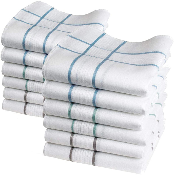 Romano nx 12 Pack Men's Fine Handkerchiefs 100% Cotton White with Color Stripe romanonx.com