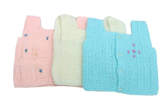 Romano nx Born Baby Winter Wear Sweater Vest (Pack of 3) romanonx.com A 0 Months-3 Months