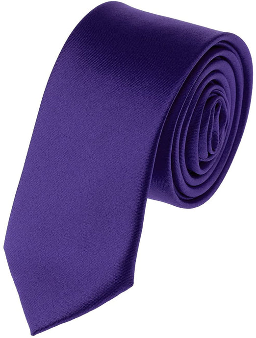 Romano nx Essentials Men's Classic Satin Solid Skinny Necktie Dark Purple romanonx.com