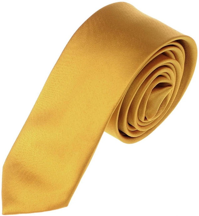 Romano nx Essentials Men's Classic Satin Solid Skinny Necktie Honey Gold romanonx.com