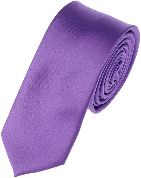 Romano nx Essentials Men's Classic Satin Solid Skinny Necktie Purple romanonx.com