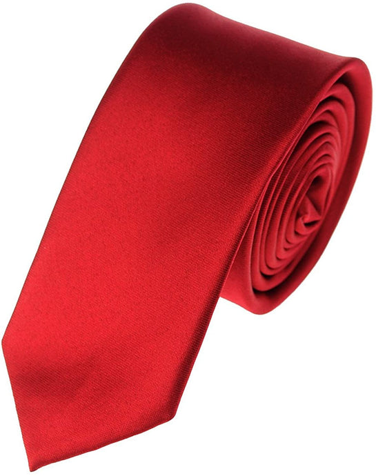 Romano nx Essentials Men's Classic Satin Solid Skinny Necktie Red romanonx.com