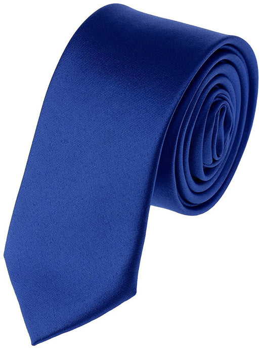 Romano nx Essentials Men's Classic Satin Solid Skinny Necktie Royal Blue romanonx.com