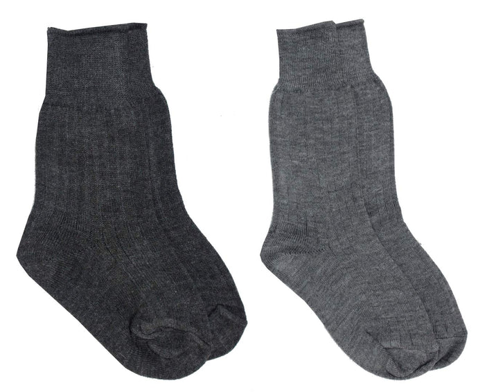 Romano nx Girl's Warm Wool Winter Socks (Pack of 2 Pairs) romanonx.com Dark Grey & Light Grey 5 to 10 Years
