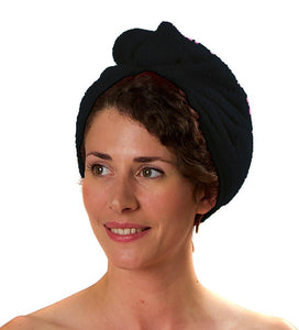 Romano nx Luxury Drying Turban Hair Wrap in 6 Colors romanonx.com Pure Black