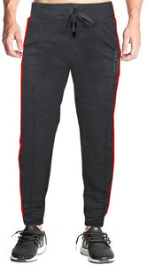 Romano nx Men's 100% Cotton Joggers Trackpants with Two Side Zipper Pockets in 4 Colors romanonx.com Medium Black Melange