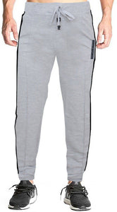Romano nx Men's 100% Cotton Joggers Trackpants with Two Side Zipper Pockets in 4 Colors romanonx.com Medium Light Grey Melange