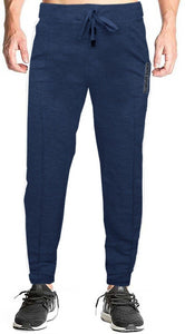 Romano nx Men's 100% Cotton Joggers Trackpants with Two Side Zipper Pockets in 4 Colors romanonx.com Medium Navy Blue Melange