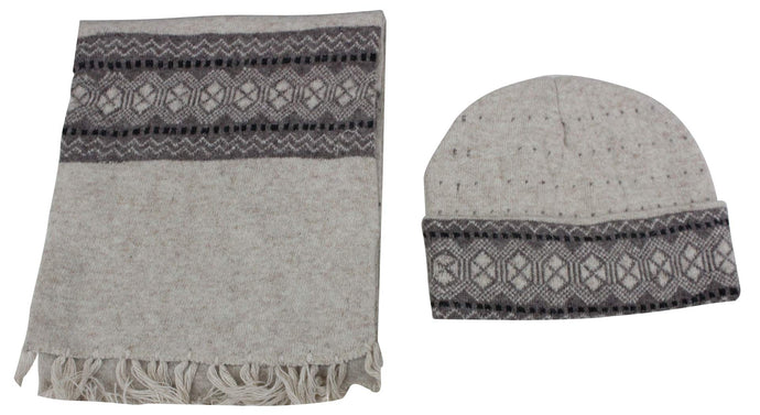 Romano nx Men's 100% Wool Winter Cap Muffler Combo in 4 Colors romanonx.com Beige