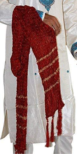 Romano nx Men's Zari Embroidered Red Sherwani Stole Dupatta Apparel Romano