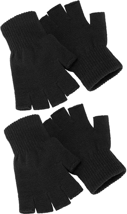 Romano nx Pack of 2 Fingerless Winter Wool Gloves Stretchy Half Finger romanonx.com Black and Black