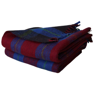 "Romano nx Premium Quality 100% Woollen Check Blanket 60"" x 90"" 1200 TC romanonx.com Red with Blue Check"