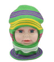 Load image into Gallery viewer, Romano nx Soft Woollen Monkey Cap for Kids in 14 Colors romanonx.com Stripes Green