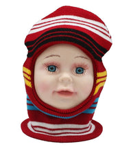 Load image into Gallery viewer, Romano nx Soft Woollen Monkey Cap for Kids in 14 Colors romanonx.com Stripes Red