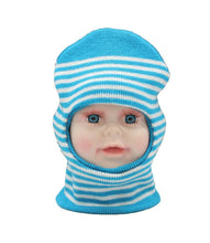 Load image into Gallery viewer, Romano nx Soft Woollen Monkey Cap for Kids in 14 Colors romanonx.com Stripes sky