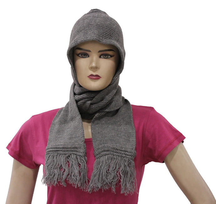 Romano nx Women's Winter Grey Wool Cap With Scarf Attached Apparel Romano