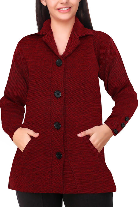 Romano nx Women's Woolen Sweater Coat in 8 Colors romanonx.com Medium Maroon