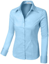 Load image into Gallery viewer, Romano Women's Best Selling Tailored Long Sleeve Button Down Shirt with Stretch romanonx.com