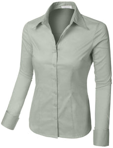 Romano Women's Best Selling Tailored Long Sleeve Button Down Shirt with Stretch romanonx.com