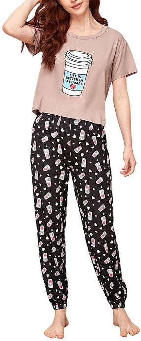Rossa 100% Cotton Printed T-Shirt & Pyjama Set for Women romanonx.com