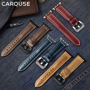 Carouse Oil Wax Handmade Leather For Apple Watch Band Series 5/4/3/2 38mm 40 mm 42mm and 44mm