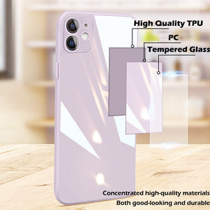 Square Tempered Glass Phone Case For iPhone 7 to 12 Pro Max