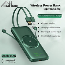 Load image into Gallery viewer, PINZHENG 20000mAh Qi Wireless Charger Power Bank Built-in 4 Cables Powerbank Portable External Battery Charger