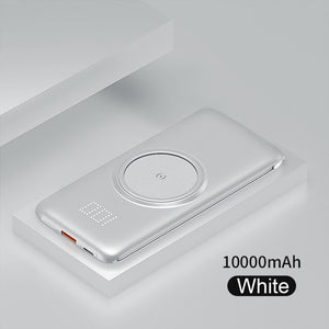 PINZHENG 20000mAh Qi Wireless Charger Power Bank Built-in 4 Cables Powerbank Portable External Battery Charger